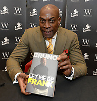 Frank Bruno, Former Heavyweight Boxer, at booksigning for his autobiography 'Let Me Be Frank' at Waterstones bookshop, Bluewater Shopping Centre, Greenhithe, Kent, England on November 4th 2017<br /> CAP/DH<br /> &copy;DH/Capital Pictures