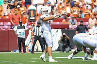 Landover, MD - September 1, 2018: Texas Longhorns quarterback Sam Ehlinger (11) calls a play during the game between Texas and Maryland at  FedEx Field in Landover, MD.  (Photo by Elliott Brown/Media Images International)
