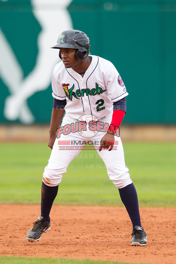 Cedar Rapids Kernels outfielder J.D. Williams #2 runs during a game against the Kane County Cougars at Veterans Memorial Stadium on June 9, 2013 in Cedar Rapids, Iowa. (Brace Hemmelgarn/Four Seam Images)