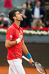 Serbian Novak Djokovic celebrating the victory and the championship during  TPA Finals Mutua Madrid Open Tennis 2016 in Madrid, May 08, 2016. (ALTERPHOTOS/BorjaB.Hojas)
