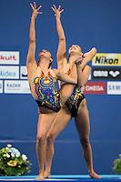 ALVAREZ Anita and KOROLEVA Mariya USA<br /> Synchro - Duet free final<br /> Day 07 30/07/2015<br /> XVI FINA World Championships Aquatics Swimming<br /> Kazan Tatarstan RUS July 24 - Aug. 9 2015 <br /> Photo Giorgio Perottino/Deepbluemedia/Insidefoto