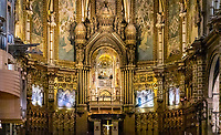 Interior alter and icon of Santa Maria de Montserrat, Monistrol de Montserrat,  Catalonia, Spain.