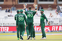 Shaheen Afridi (Pakistan) celebrates the wicket of Al Hasan, caught behind, with Safaraz Ahmed (Pakistan)  (ball in hand) during Pakistan vs Bangladesh, ICC World Cup Cricket at Lord's Cricket Ground on 5th July 2019
