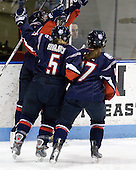 Brittany Murphy (UConn - 8), Casey Knajdek (UConn - 5), Jessica Lutz (UConn - 17) - The University of Connecticut Huskies defeated the Northeastern University Huskies 4-1 in Hockey East quarterfinal play on Saturday, February 27, 2010, at Matthews Arena in Boston, Massachusetts.