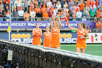 The Hague, Netherlands, June 12: Players of The Netherlands celebrate after winning the field hockey semi-final match (Women) between The Netherlands and Argentina on June 12, 2014 during the World Cup 2014 at Kyocera Stadium in The Hague, Netherlands. Final score 4-0 (3-0)  (Photo by Dirk Markgraf / www.265-images.com) *** Local caption *** Marloes Keetels #8 of The Netherlands, Kelly Jonker #10 of The Netherlands, Margot van Geffen #30 of The Netherlands, Frederique Derkx #2 of The Netherlands