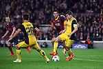 UEFA Champions League 2013/2014.<br /> Quarter-finals 1st leg.<br /> FC Barcelona vs Club Atletico de Madrid: 1-1.<br /> Diego, Busquets &amp; Gabi.