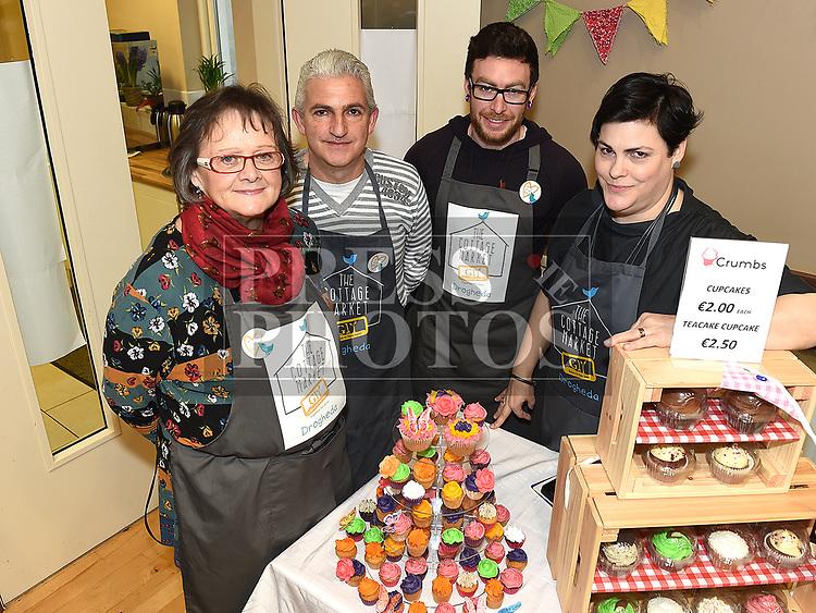 Ann McNamee, Gary McCabe, Kostas Chalkaidakis and market organiser Eimear Cullen at the Cottage Market 3rd birthday in St. Peter's Parish Hall. Photo:Colin Bell/pressphotos.ie