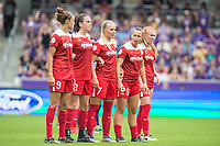 Orlando, FL - Saturday April 22, 2017: Havana Solaun, Lindsay Agnew, Line Jensen, Meggie Dougherty, Victoria Huster during a regular season National Women's Soccer League (NWSL) match between the Orlando Pride and the Washington Spirit at Orlando City Stadium.