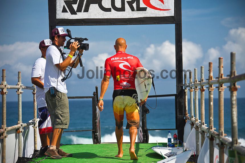 Kelly Slater (USA). MIDDLES, Puerto Rico (Saturday, October 30, 2010) -The Rip Curl Pro Search Puerto Rico was  called ON this morning with Round 1 commencing in three-to-four foot (1.5 metre) waves at the primary site of Middles.. .Event No. 9 of 10 on the 2010 ASP World Tour, the Rip Curl Pro Search Puerto Rico has captured the attention of the international sporting world as it will potentially host Kelly Slater (USA), 38, clinching an historic 10th ASP World Title.. Round 1 of the men was followed by Round 1 and Round 2 of the women..Photo: joliphotos.com