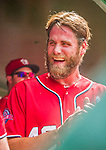 21 June 2015: Washington Nationals pitcher Matt Thornton smiles in the dugout after pitching the 8th inning against the Pittsburgh Pirates at Nationals Park in Washington, DC. The Nationals defeated the Pirates 9-2 to sweep their 3-game weekend series, and improve their record to 37-33. Mandatory Credit: Ed Wolfstein Photo *** RAW (NEF) Image File Available ***