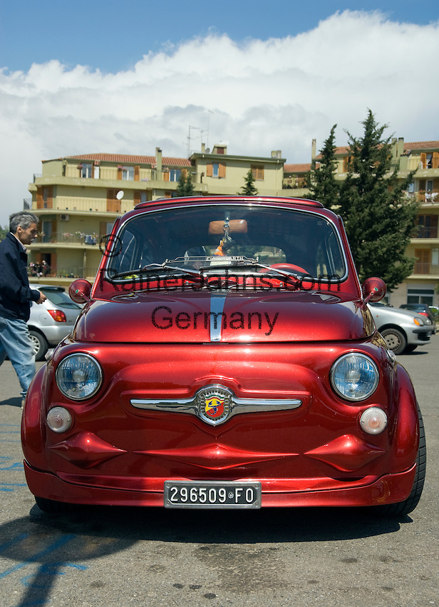Italy, Calabria, Rossano: meeting of FIAT 500 cars, tuned version
