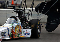 Sep 28, 2013; Madison, IL, USA; NHRA top fuel dragster driver Brandon Bernstein during qualifying for the Midwest Nationals at Gateway Motorsports Park. Mandatory Credit: Mark J. Rebilas-