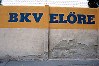 Entrance sign at BKV Elore SC Football Ground, Sport Utcai Stadium, Budapest, Hungary, pictured on 1st September 1996
