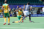 The Hague, Netherlands, June 12: Lungile Tsolekile #22 of South Africa defends against Razie Abd Rahim #17 of Malaysia during the field hockey placement match (Men - Place 11/12) between Malaysia and South Africa on June 12, 2014 during the World Cup 2014 at Kyocera Stadium in The Hague, Netherlands. Final score 2-6 (1-0)  (Photo by Dirk Markgraf / www.265-images.com) *** Local caption ***