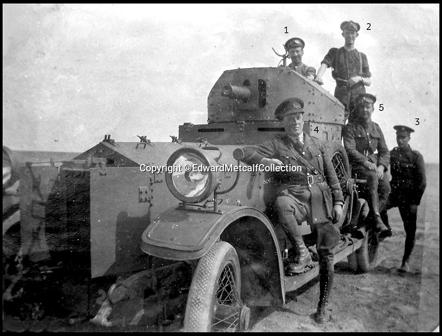 Bournemouth News (01202 558833)<br /> Pic: EdwardMetcalfCollection/BNPS<br /> <br /> Lieutenant Gilman and men of the Hejaz armoured car section in Egypt. 1) Bond.  2) James Brown.  3) Tommy Lowe.  4) Gilman.  5) Jackson.<br /> <br /> Fascinating never before seen photos of the Arab Revolt have revealed Lawrence of Arabia actually had help from a plucky band of British troops as well as the Arab tribesmen.<br /> <br /> A new book reveals the legendary campaign, that did much to shape the modern map of the Middle East, used cutting edge weapons like Rolls Royce armoured car's and British crewed aircraft to attack the Turkish enemy alongside the native arab army.<br /> <br /> The photos feature in military historian James Stejskal's new book Masters of Mayhem which sheds new light on T.E Lawrence's achievements fighting alongside Arab guerrilla forces in the Middle East during the First World War.<br /> <br /> They had been tucked away in the private photo albums of the descendants of soldiers who fought alongside Lawrence during the campaign.<br /> <br /> One historically important photo shows Lawrence and his driver sitting in a Rolls Royce in Marjeh Square in Damascus after it was captured in October 1918.<br /> <br /> Another documents the dramatic moment a water tower and windmill pump are blown up in the desert.