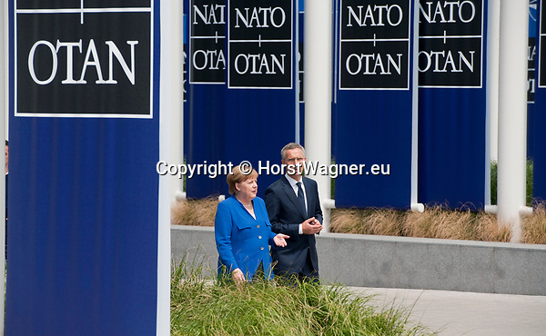 Belgium, Brussels - July 11, 2018 -- NATO summit, meeting of Heads of State / Government; here, German Chancellor Angela MERKEL with NATO General Secretary Jens STOLTENBERG -- Photo © HorstWagner.eu