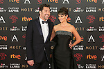 Spanish actress Penelope Cruz and actor Javier Bardem attend 30th Goya Awards red carpet in Madrid, Spain. February 06, 2016. (ALTERPHOTOS/Victor Blanco)