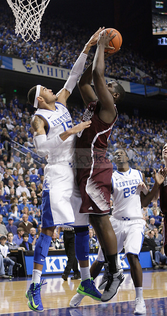 UK forward Willie Cauley-Stein blocks a shot by Mississippi State forward Gavin Ware during the first half of the men's basketball game against Mississippi State at Rupp Arena in Lexington, Ky. on Saturday, February 27, 2013. Photo by Genevieve Adams