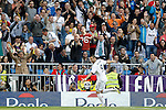 Real Madrid's Karim Benzema celebrates goal during La Liga match.April 20,2013. (ALTERPHOTOS/Acero)