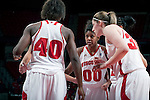 Wisconsin Badgers guard Jade Davis (00) looks on during a team huddle during an NCAA college women's basketball game against the Duke Blue Devils during the ACC/Big Ten Challenge at the Kohl Center in Madison, Wisconsin on December 2, 2010. Duke won 59-51. (Photo by David Stluka)
