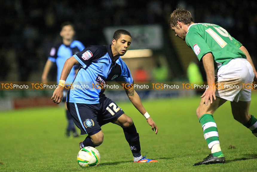 Wycombe's Bruno Andrade takes on the Yeovil defence - Yeovil Town vs Wycombe Wanderers - Johnstones Paint Trophy Southern Area Quarter Final Football at Huish Park, Yeovil, Somerset - 04/12/12 - MANDATORY CREDIT: Paul Dennis/TGSPHOTO - Self billing applies where appropriate - 0845 094 6026 - contact@tgsphoto.co.uk - NO UNPAID USE.
