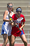 Torrance, CA 05/11/13 - Breezy Hastie (Los Alamitos #4) and Kelsie Garrison (Agoura #23) during the 2013 Los Angeles/Orange County Championship game between Los Alamitos and Agoura.  Los Alamitos defeated Agoura 19-4.