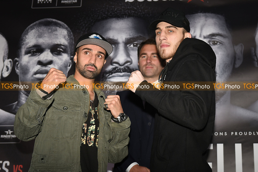 Boxers Paulie Malignaggi (L) and Sam Eggington during a Matchroom Boxing Press Conference at The O2 on 2nd March 2017