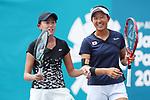 Erina Hayashi &   Moyuka Uchijima (JPN), <br /> AUGUST 22, 2018 - Tennis : <br /> Women's Doubles Round of 16<br /> at Jakabaring Sport Center Tennis Court <br /> during the 2018 Jakarta Palembang Asian Games <br /> in Palembang, Indonesia. <br /> (Photo by Yohei Osada/AFLO SPORT)