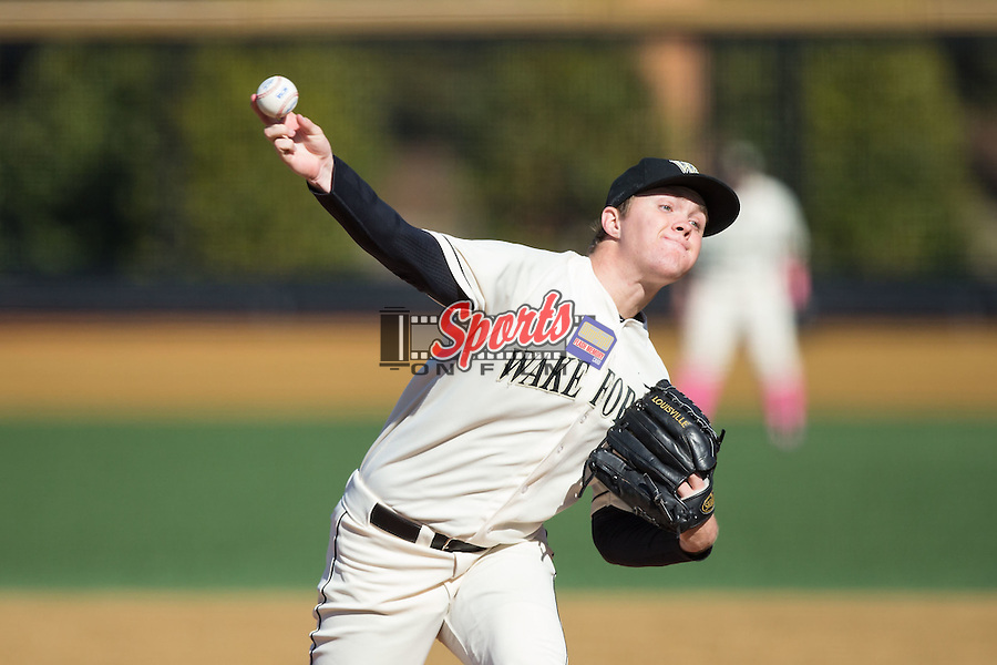 Wake Forest Demon Deacons relief pitcher Paul Kirkpatrick (42) in action against the Virginia Tech Hokies at Wake Forest Baseball Park on March 7, 2015 in Winston-Salem, North Carolina.  The Hokies defeated the Demon Deacons 12-7 in game one of a double-header.   (Brian Westerholt/Sports On Film)