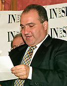 File photo of George Nader at a Middle East Insight event in Washington, DC on June 17, 1998.  Nader, a Lebanese-American businessman, is an advisor to Crown Prince Mohammed bin Zayed al-Nahyan of the United Arab Emirates (UAE), and who last year was a frequent visitor to the Trump White House, is now a focus of the investigation by Robert Mueller.<br /> Credit: Ron Sachs / CNP