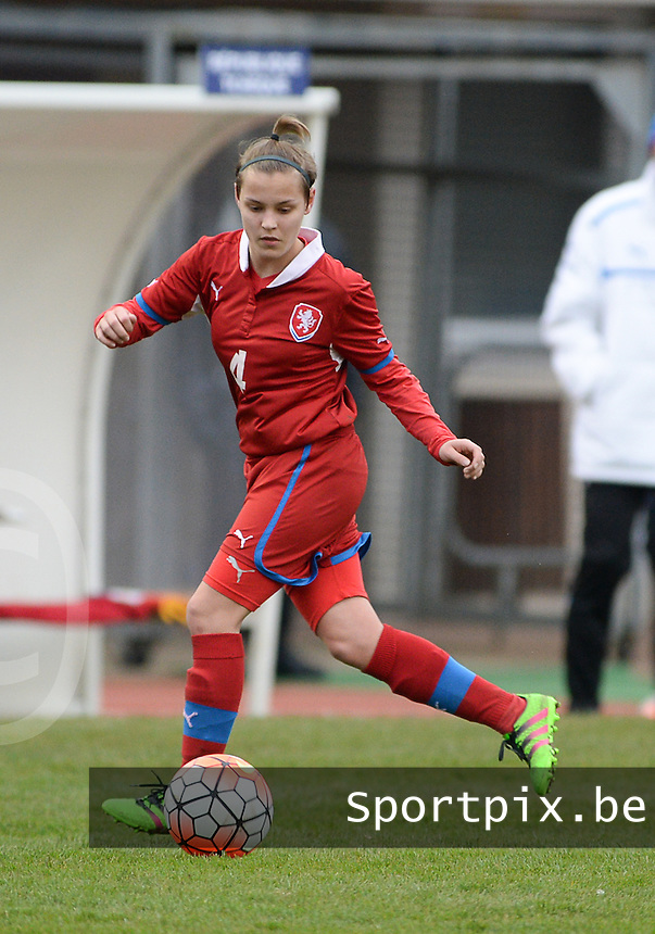 20160319 - FLERS , FRANCE : Czech Natalie Valaskova pictured during the soccer match between the women under 17 teams of  France and the Czech Republic , on the first matchday in group 3 of the UEFA Women Under17 Elite rounds at Stade du Haze in Flers , France . Saturday 19th March 2016 . PHOTO DAVID CATRY