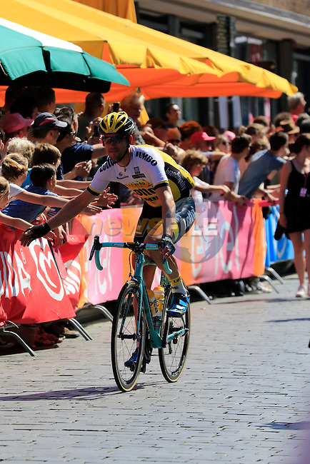 Maarten Tjallingii (NED) Lotto NL-Jumbo arrives at sign on before the start of Stage 3 of the 2016 Giro d'Italia running 190km from Nijmegen to Arnhem, The Nethrerlands. 8th May 2016.<br /> Picture: Eoin Clarke | Newsfile<br /> <br /> <br /> All photos usage must carry mandatory copyright credit (&copy; Newsfile | Eoin Clarke)