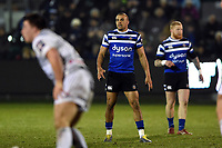 Jonathan Joseph of Bath Rugby looks on during a break in play. Premiership Rugby Cup match, between Bath Rugby and Gloucester Rugby on February 3, 2019 at the Recreation Ground in Bath, England. Photo by: Patrick Khachfe / Onside Images