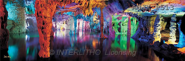 Dr. Xiong, LANDSCAPES, panoramic, photos, Cave colours, Guilin, China(AUJXP513,#L#)