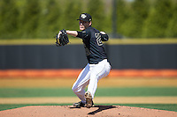 Wake Forest Demon Deacons starting pitcher Drew Loepprich (23) in action against the Florida State Seminoles at David F. Couch Ballpark on April 16, 2016 in Winston-Salem, North Carolina.  The Seminoles defeated the Demon Deacons 13-8.  (Brian Westerholt/Four Seam Images)