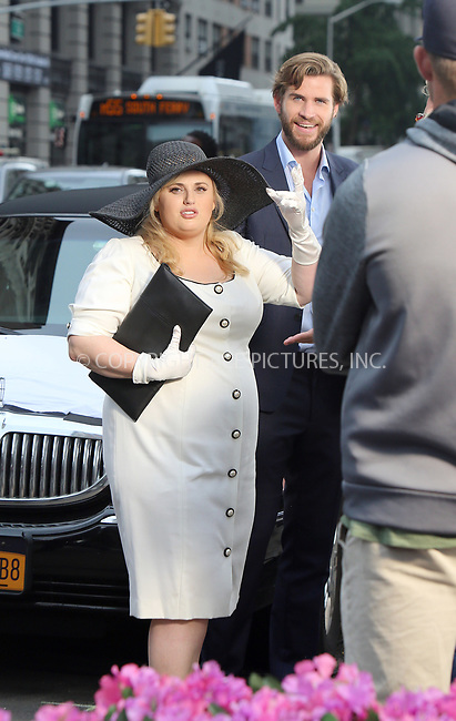 www.acepixs.com<br /> <br /> July 25 2017, New York City<br /> <br /> Liam Hemsworth and Rebel Wilson were on the 5th Avenue  set of the new movie 'Isn't It Romantic?' on July 25, 2017 in New York City.<br /> <br /> By Line: Philip Vaughan/ACE Pictures<br /> <br /> <br /> ACE Pictures Inc<br /> Tel: 6467670430<br /> Email: info@acepixs.com<br /> www.acepixs.com
