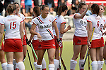 Mannheim, Germany, April 18: During the 1. Bundesliga Damen match between TSV Mannheim (white) and Mannheimer HC (red) on April 18, 2015 at TSV Mannheim in Mannheim, Germany. Final score 1-7 (1-4). (Photo by Dirk Markgraf / www.265-images.com) *** Local caption *** Laura Keibel #17 of TSV Mannheim, Yasemine Zorke #28 of TSV Mannheim