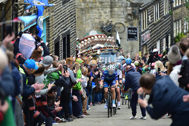 The breakaway group climb C&ocirc;te de Haworth during Stage 3 of the Tour de Yorkshire 2017 running 194.5km from Bradford/Fox Valley to Sheffield, England. 30th April 2017. <br /> Picture: ASO/P.Ballet | Cyclefile<br /> <br /> <br /> All photos usage must carry mandatory copyright credit (&copy; Cyclefile | ASO/P.Ballet)