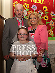 Tracy O'halloran Who received first holy communion in St Cianan's church Duleek with her parents Emilie and Alan. Photo-Jenny Matthews