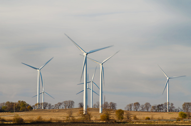 Wind Turbines turn in late afternoon on a November day in a Wind Farm in Benton County, Indiana