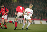 Jurgen Klinsmann of Bayern tussles with Colin Cooper of Nottingham Forest - UEFA Cup - quarter final 2nd leg - Nottingham Forest v Bayern Munich - City Ground - Nottingham - England - 19th March 1996 - Picture Simon Bellis/Sportimage