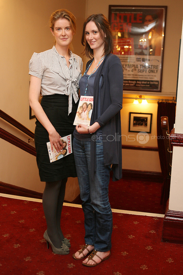 26/8/2010. NO REPRO FEE. Little Gem Opening night.  Orla Daly and Helen Louise Caffery are pictured at the Olympia Theatre Dublin for the opening night of Little Gem. Hilda Fay makes her return as Lorraine, Anita Reeves continues in the role of Kay, and Genevieve Hulme-Beaman takes on the role of Amber. After sell-out seasons in New York, London and Paris and a sold-out 7-week run at Ireland's National Theatre, Gúna Nua is bringing its bittersweet comedy Little Gem back to Dublin for 10 shows only at The Olympia Theatre from August 26 to September 4, 2010. Love, sex, birth, death, dildos and salsa classes: Elaine Murphy's award winning Little Gem sees three generations of Dublin women on a wild and constantly surprising journey. Picture James Horan/Collins Photos