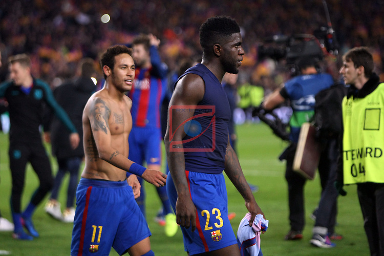 UEFA Champions League 2016/2017.<br /> Round of 16 2nd leg<br /> FC Barcelona vs Paris Saint-Germain: 6-1.<br /> Samuel Umtiti &amp; Neymar.