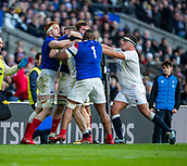 10th February 2019, Twickenham Stadium, London, England; Guinness Six Nations Rugby, England versus France; Argument between Felix Lambey and Jefferson Poirot of France with Jamie George of England