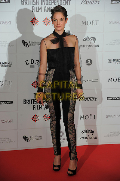 Ruth Wilson.Independent Film Awards, Old Billingsgate Market, London, England..December 9th, 2012.full length black top tulle sheer chiffon scarf trousers lace .CAP/CAS.©Bob Cass/Capital Pictures.