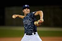Carson Montgomery during the WWBA World Championship at the Roger Dean Complex on October 19, 2018 in Jupiter, Florida.  Carson Montgomery is a right handed pitcher from Windermere, Florida who attends Windermere High School and is committed to Florida State.  (Mike Janes/Four Seam Images)