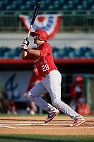 Palm Beach Cardinals first baseman Stefan Trosclair (28) follows through on a swing during a game against the Florida Fire Frogs on May 1, 2018 at Osceola County Stadium in Kissimmee, Florida.  Florida defeated Palm Beach 3-2.  (Mike Janes/Four Seam Images)
