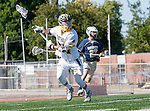 Tustin, CA 04/23/16 - Daniel Verga {La Costa Canyon #27) and Kevin Kodzis (Foothill #34) in action during the non-conference CIF varsity lacrosse game between La Costa Canyon and Foothill at Tustin Union High School.  Foothill defeated La Costa Canyon 10-9 in sudden death overtime.