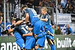 09.09.2017, wirsol-Rhein-Neckar-Arena, Sinsheim, GER, 1. FBL, TSG 1899 Hoffenheim vs FC Bayern Muenchen, im Bild Mark Uth (TSG Hoffenheim #19) jubelt ueber sein Tor zum 2:0, links  Steven Zuber (TSG Hoffenheim #17),  hinten Nadiem Amiri (TSG Hoffenheim #18) und Dennis Geiger (TSG 1899 Hoffenheim #32) und Kerem Demirbay (TSG Hoffenheim #10)<br /> <br /> Foto &copy; nordphoto / Fabisch