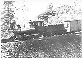 A cropped version of the published photo showing mostly the engine, as opposed to the original which shows a 6-car freight train posing on Muleshow Curve on Veta Pass.  D&amp;RG #22 later became C-16 #228.<br /> D&amp;RG  Mule Shoe Curve, Veta Pass, CO